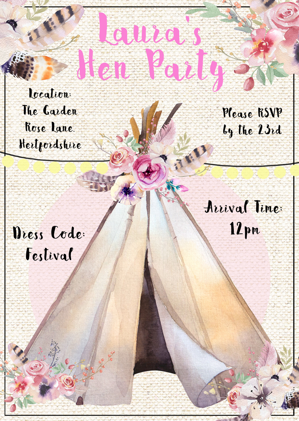 www.totallypinnable.com digital hen party invitation tipi floral festival themed. A6 in size.