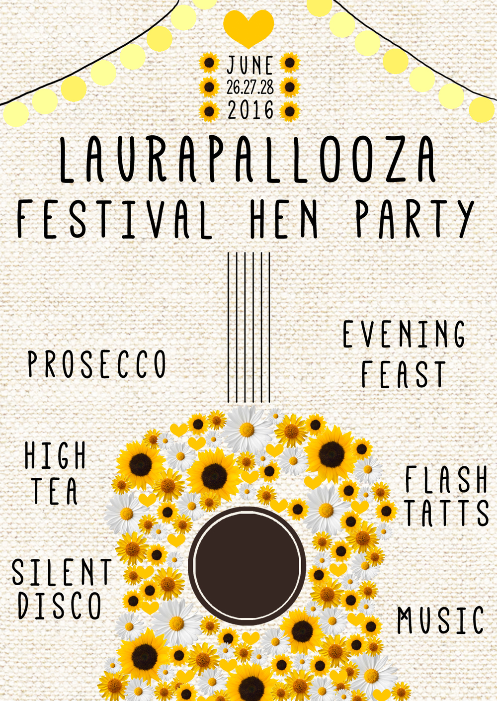 www.totallypinnable.com digital hen party invitation. Festival themed, guitar, flowers, yellow, festoons. A6 in size