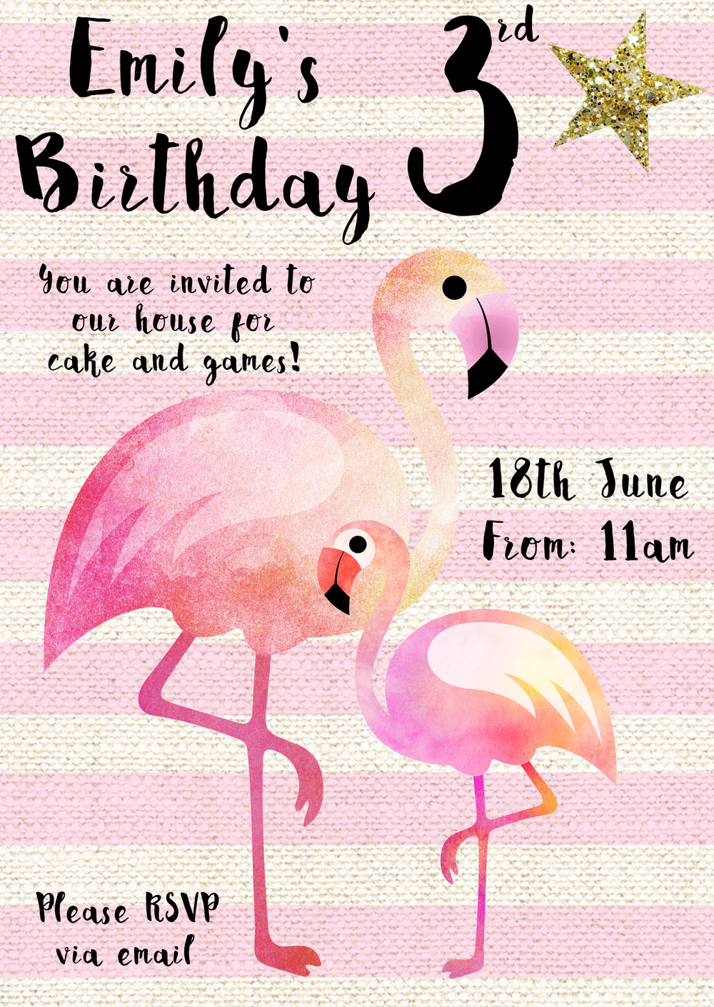 www.totallypinnable.com Flamingo Birthday Invitation, digital download, customisable. A6 in size.