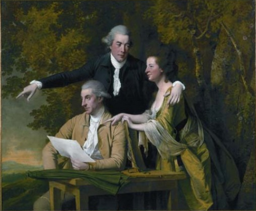 Daniel Parker Coke MP (seated). Painting by Joseph Wright of Derby