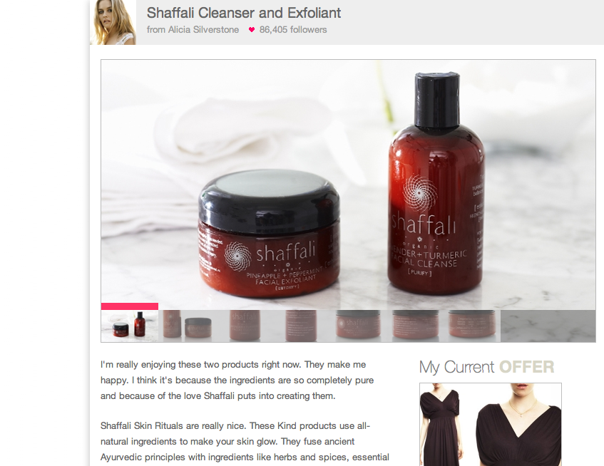 Shaffali Skincare was featured on OpenSky with the endorsement of Alicia Silverstone! See the full quote below. Alicia's Favorites?: (Hint; they are pictured above!) Shaffali Lavender + Turmeric Cleanser & Shaffali Pineapple + Peppermint Exfoliant
