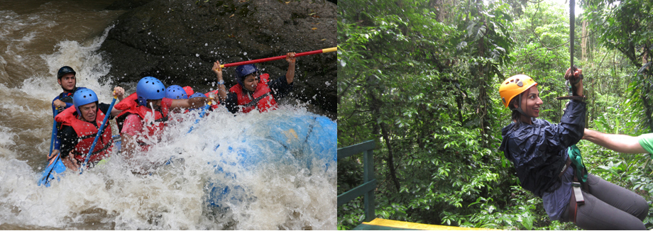 L: White Whater Rafting on one of the top ten rivers (according to National Geographic) in the world to do it! – The Pacuare River. R: About to zip line through the beautiful rainforest. Both of these examples are fun and adventurous ways to get your BODY MOVING!