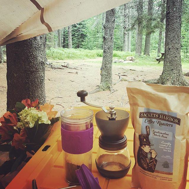 Our Guatemalan beans made it to Maine on a camping trip. #frenchpress #camping #sacketsharbor #maine #friends