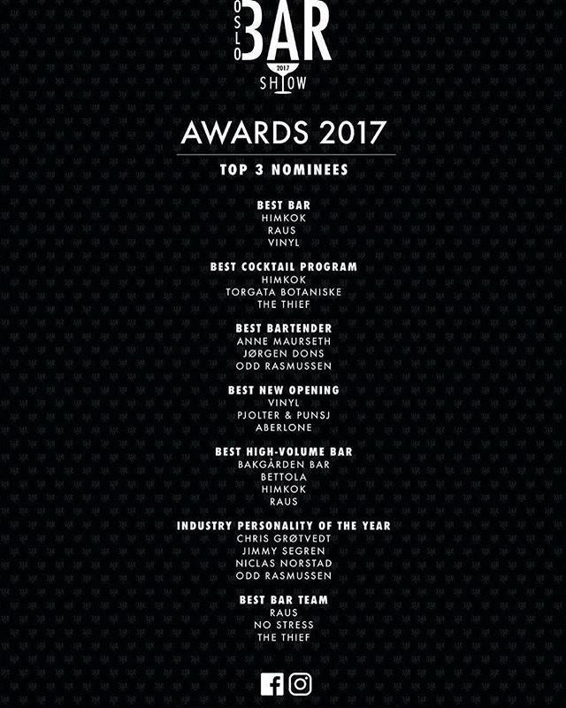 We would like to congratulate all nominees in the Norwegian categories for Oslo Bar Awards. Now let´s see who will get nominated in the Nordic categories. #oslobarshow2017 #oslobarawards2017