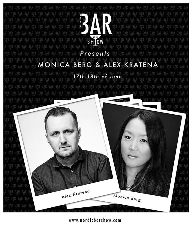 """We are very excited to get Monica Berg and Alex Kratena back to Nordic Bar Show for their talk """"The Business of Bars"""" and they will also bring the house down at *ISM on Sunday 17th of June. Knowing Alexino - we are expecting some old school hip hop tunes to pair with their drinks. #nordicbarshow2018"""