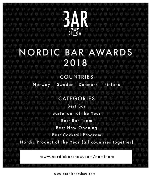It is time! Vote for your favorite in the categories to make them eligible for consideration for the judging panel. The voting will close 2nd of June. #nordicbarshow2018 #nordicbarawards2018