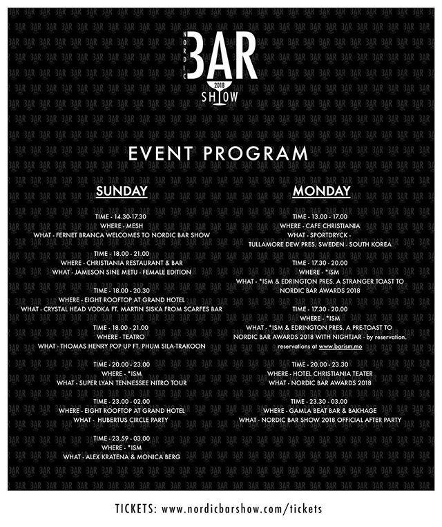 Download this poster to have the complete overview over all events during Sunday and Monday for Nordic Bar Show.  We are almost there.