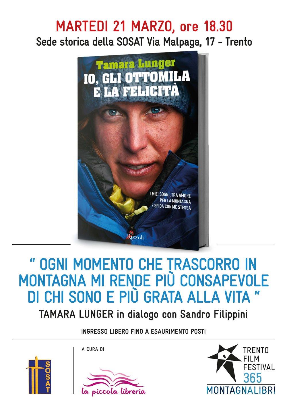 LA MITICA ALPINISTA TAMARA LUNGER IN DIALOGO CON SANDRO FILIPPINI #montagnalibri365 SOSAT VIA MALPAGA 17, TRENTO