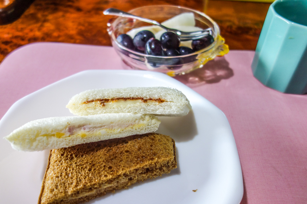 SUN-DRIED TOMATO AND CHEESE SANDWICH.   HAM AND EGG SANDWICH.   KINAKO (ROASTED SOYBEAN) SANDWICH.