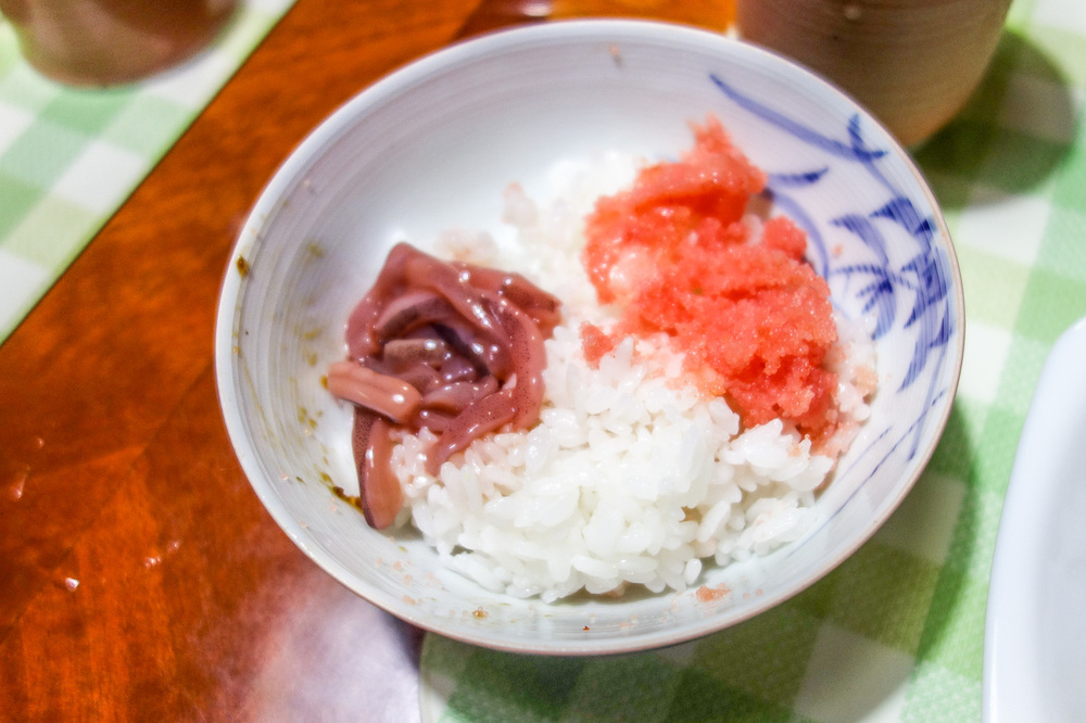 RICE WITH SQUID AND MENTAIKO TOPPINGS.