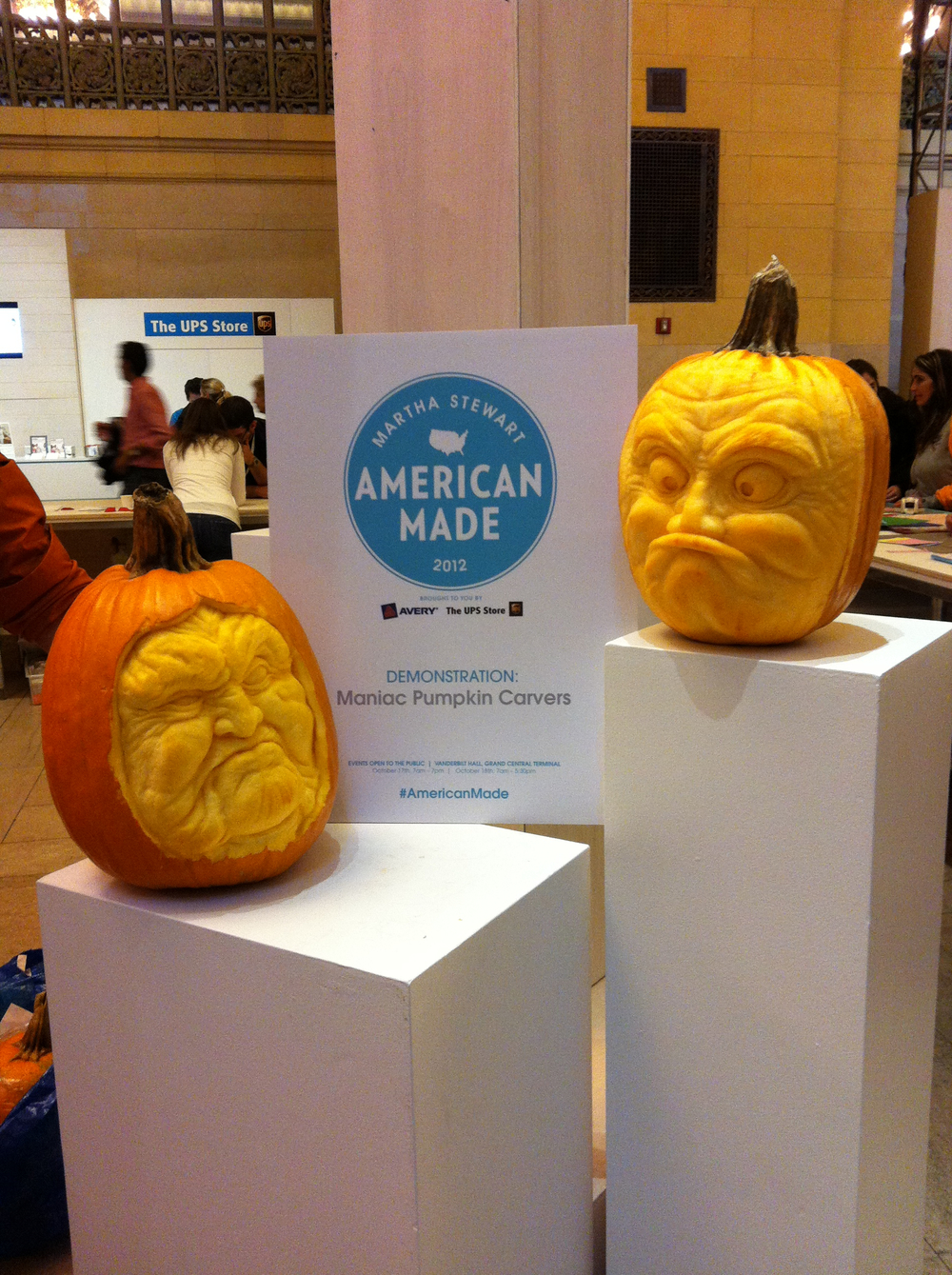 Maniac Pumpkin Carvers doing demos at Martha Stewarts American Made Festival in Grand Central Station, NYC.