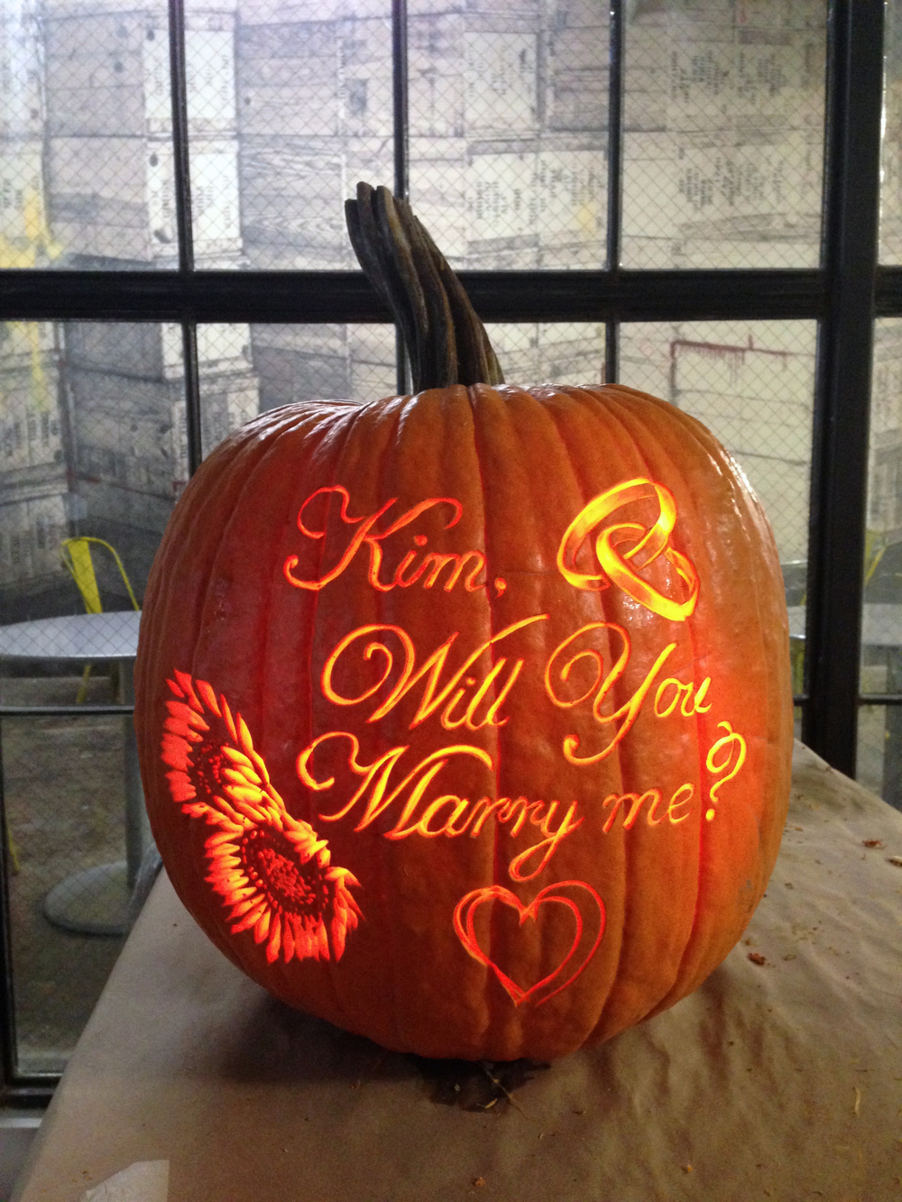 Large Proposal pumpkin, with added graphics.
