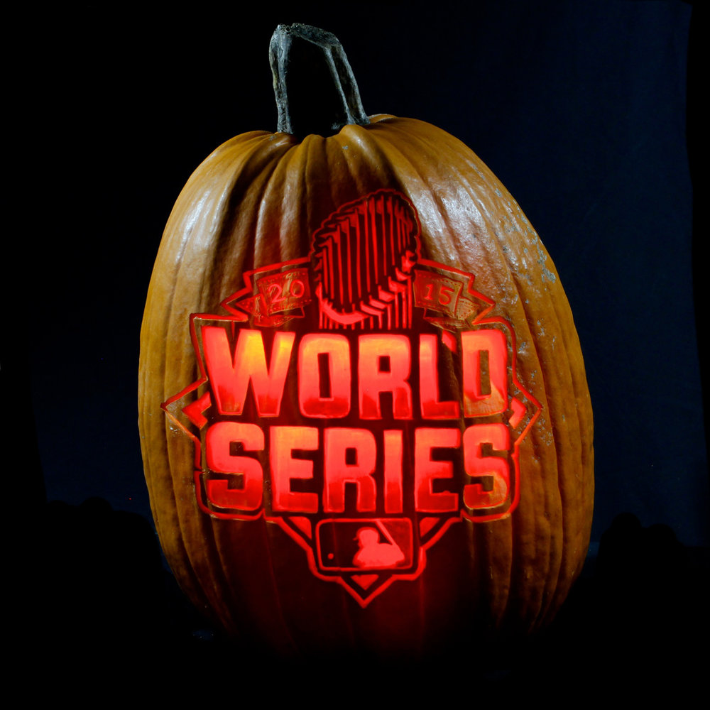 World Series logo carved on extra large pumpkin.