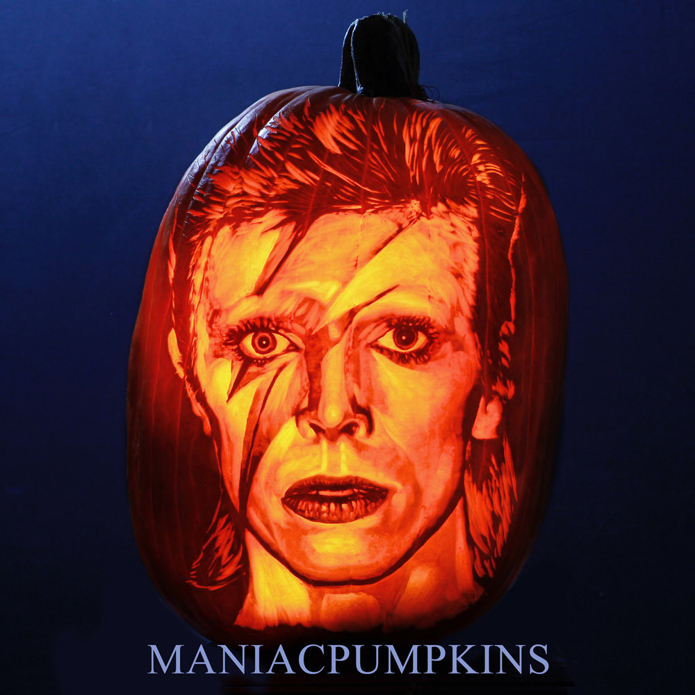 Etching style portrait carving of David Bowie (on Xtra Large Pumpkin) by Chris Soria  We have extensive experience carving all manner of requests. From corporate logos, to portraits, monsters, and artistic masterpieces.  We will transform your ideas into a reality. We also offer photography, video, and time-lapse services!