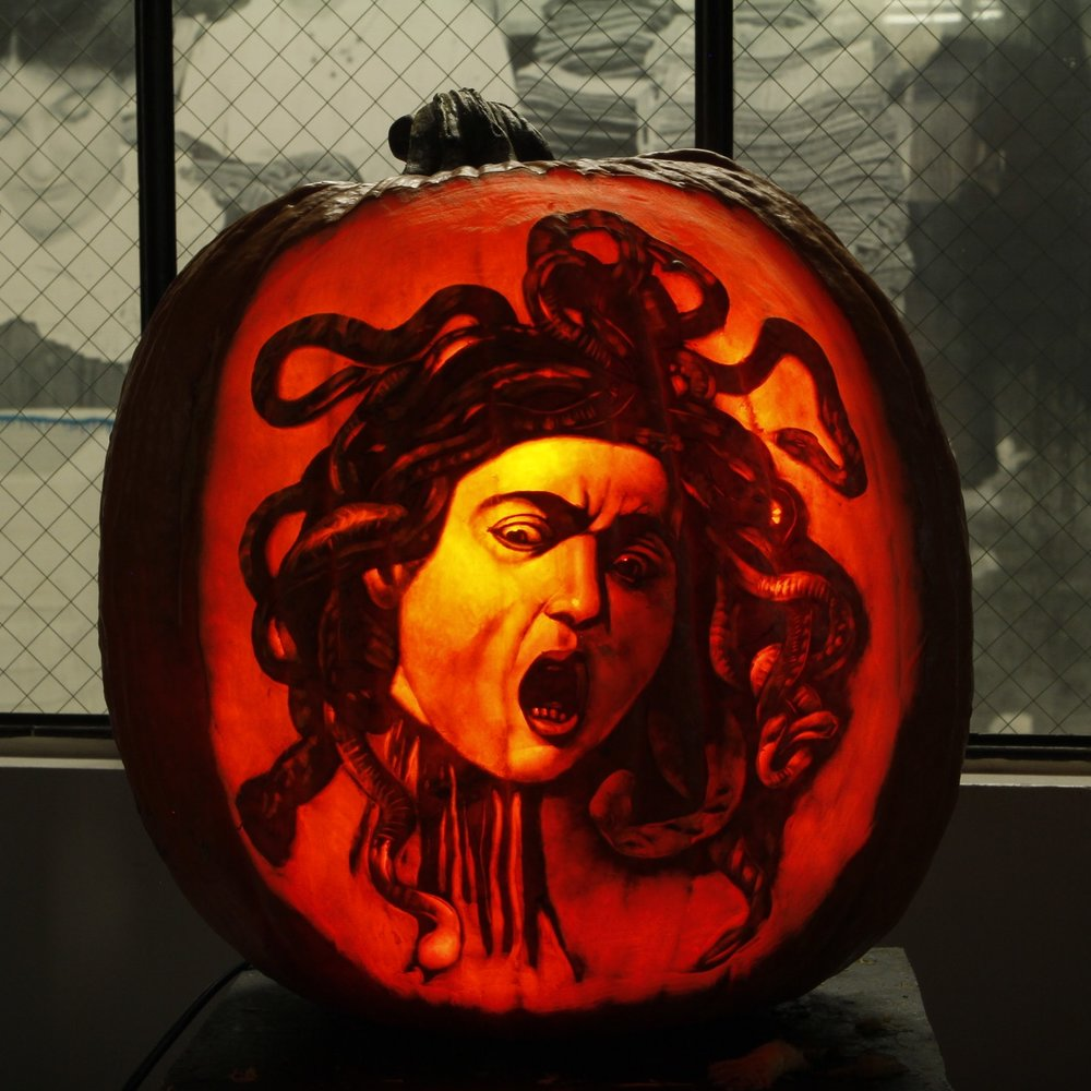 Jose De Jesus Rodriguez' breathtaking reinterpretation of Caravaggio's Medusa We love paying homage to our favorite classic and contemporary artists. Each year we immortalize a few of our favorite masters' works in pumpkin. Its always an awesome learning experience to study a work of art so intimately, in order to reinterpret it for another medium.