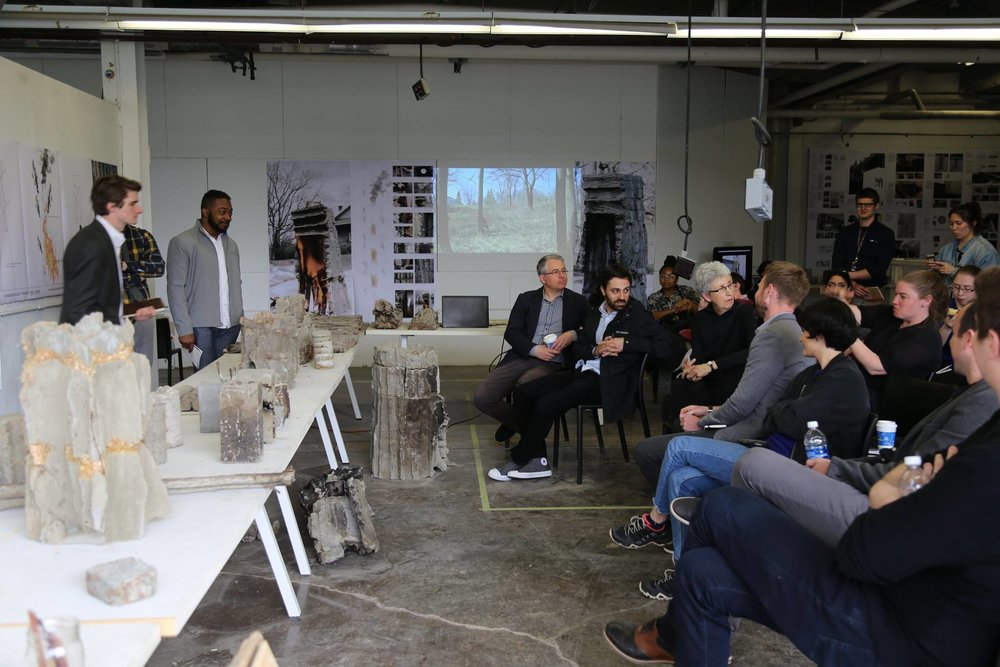 Material Culture Graduate Research Group Final Review. Megalith. Prof. Christopher Romano. University at Buffalo. With Nick Bruscia, Annette LeCuyer, Matthew Mayers, Stephanie Cramer, Brandon Clifford, and Sasa Zivkovic. May 9, 2017. Photograph by Alexander Becker for B/a+p.