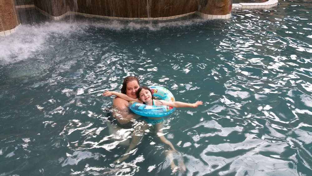 Bug and I swimming