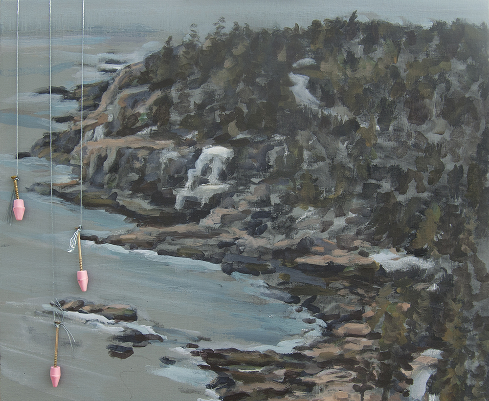 Acadia, Otter Cliffs, Erasing the park with pink erasers.  Acrylic, charcoal, embroidery thread, screws, erasers. 20 x 24 in. 2015.