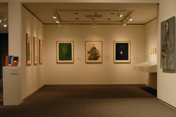 Small room installation with vitrine, Hidden Histories exhibition, Colby Museum. 2012.