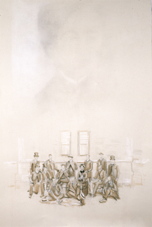 "Bertha Erased, and ""en face"" with the men of her class, below. 2005. Graphite, conte, sepia ink, heightened with white. 44 x 30 in."