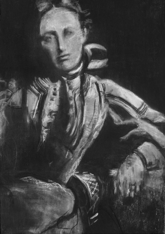 Florence Dunn, Colby 1896, Faculty, Donor of Scholarships for Maine Students. 2008. Charcoal heightened with white on paper. 44 x 30 in.