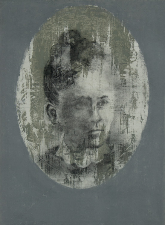 Hattie Britton Joy, Colby 1879. 2008.  Charcoal, pastel/paper. 30 x 22.5 in.