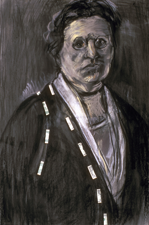 Louise Coburn, Colby Class of 1877. 2004. Mixed media (charcoal, pastel, cut dollar bills) on  paper. 44 x 30 in.