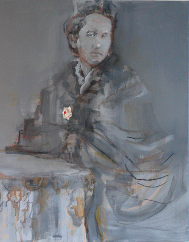 Mary Low (Carver) at graduation, 1875. 2010.  Charcoal, graphite, conte over acrylic and oil/canvas. 48 x 40 in.