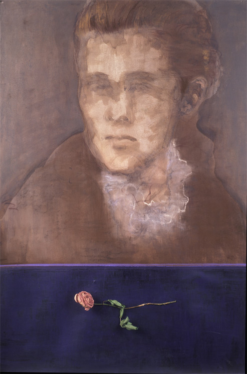 Memorial to Lizzie (Elizabeth Gorham Hoag, member of the Class of 1877). Died June 17, 1875.  2004. Mixed media (Charcoal, conté, sepia ink wash, acrylic, sewn rose) on paper. 44 x 30 in.