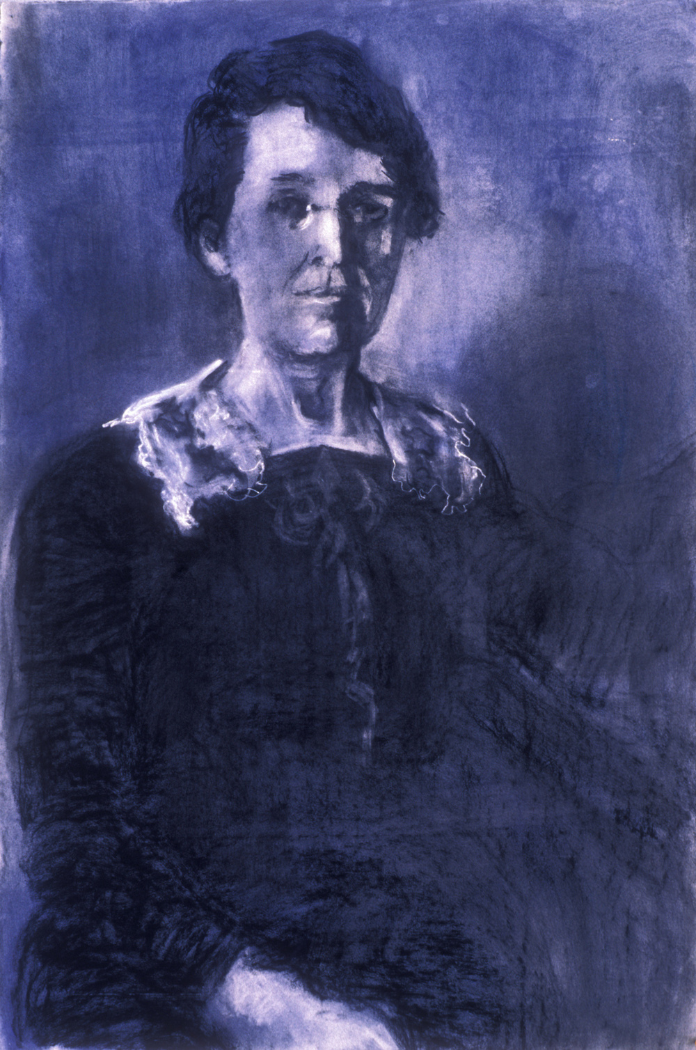 Ninetta Runnals, Colby 1908, Beloved Dean of Women, 2008.  Charcoal, pastel, heightened with white on paper. 44 x 30 in.