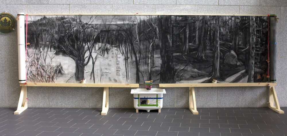 Overworked Landscape. 51 x 180 in. 2016. Erasable site-specific installation for environmental conference Community, Culture, Conservation: Sustaining Landscapes and Livelihoods.