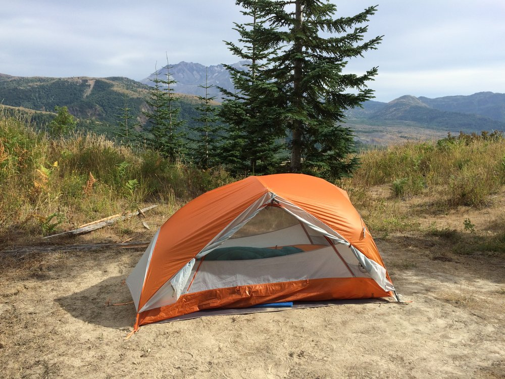 Our campsite on Coldwater Ridge. Several sites had full or partial views of Mount St. Helens.