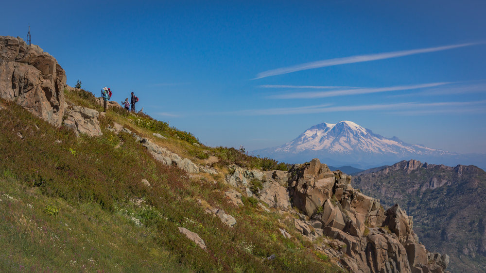 Members of our group atop Coldwater Peak, with Mount Rainier.