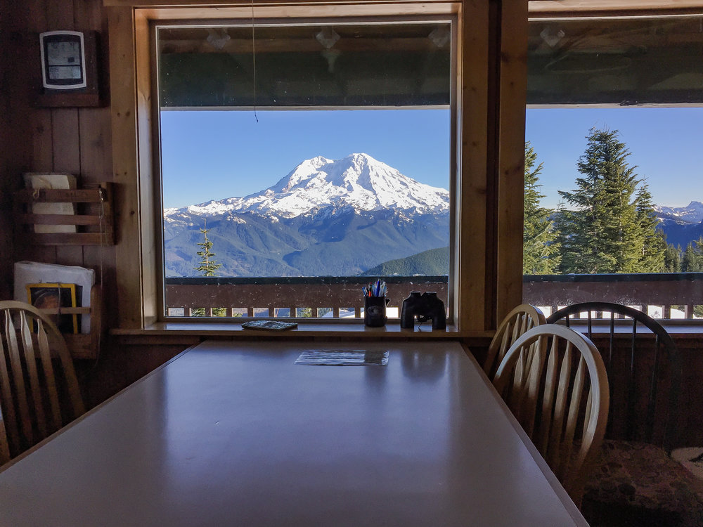 Mount Rainier from High Hut's kitchen table.