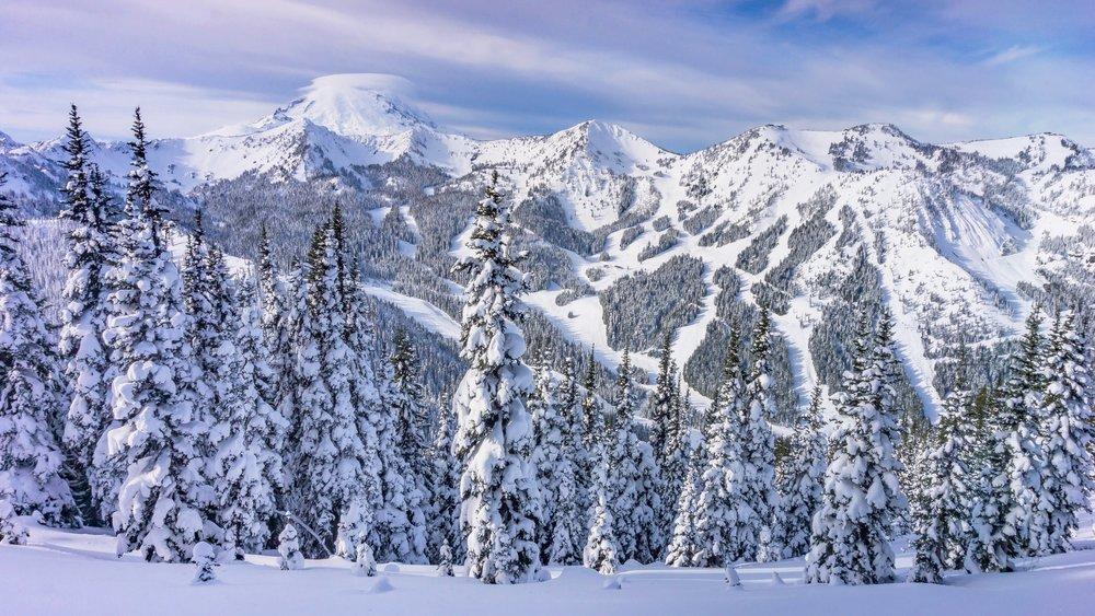 Mount Rainier peeking over the Crystal Mountain Ski Resort.