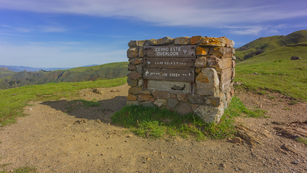 A stone marker at Cerro Este Overlook, elevation 1,720 feet.
