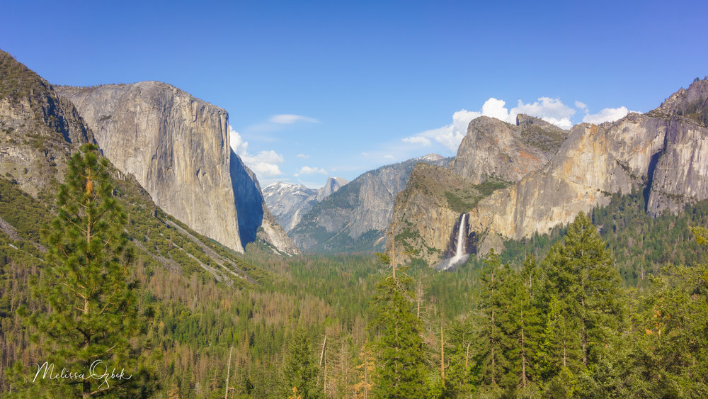 El Capitan, Half Dome, and Bridalveil Fall from Tunnel View