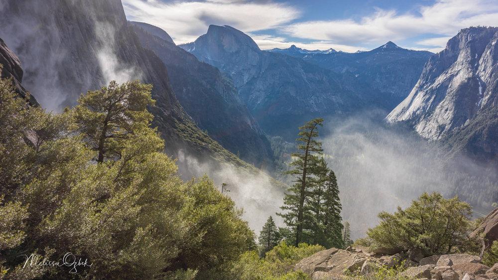 Mist from Yosemite Falls, Half Dome