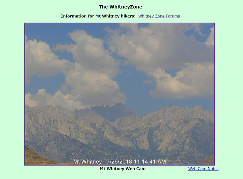 Mount Whitney, center, via a webcam at the Lone Pine Film History Museum. Click on the photo for the latest image of Mount Whitney.