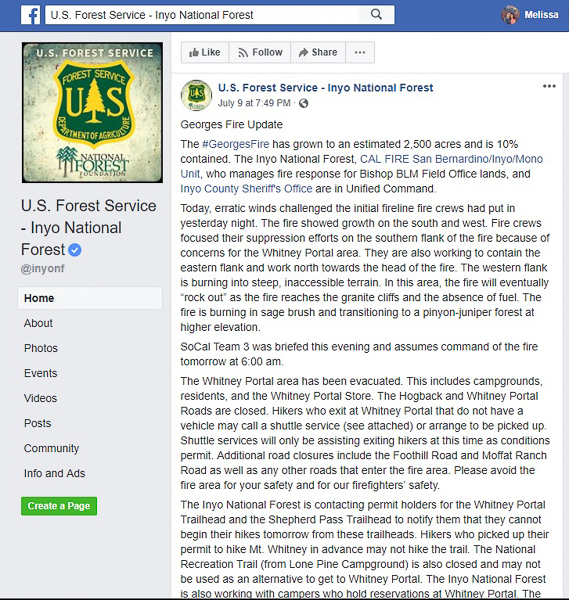 An update on Monday, July 9th about the Georges Fire.