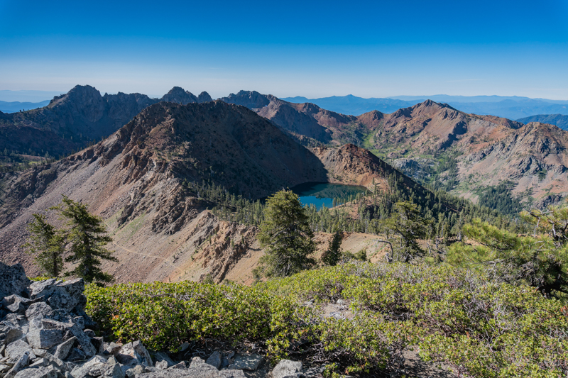 View of Summit Lake, where we camped, from atop Siligo Peak. Four Lakes Loop Trail on the left.
