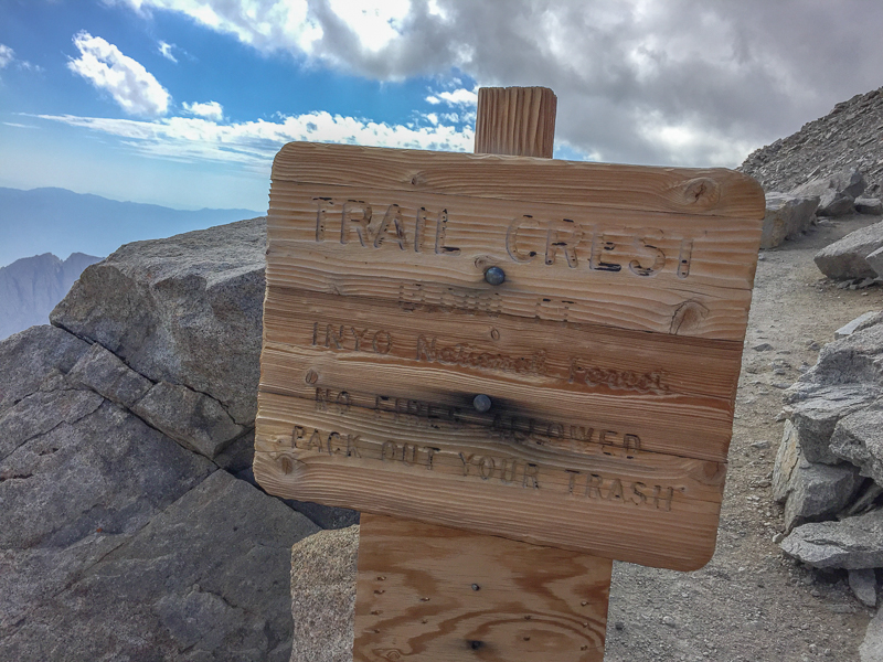 Seeing the Trail Crest sign in daylight!