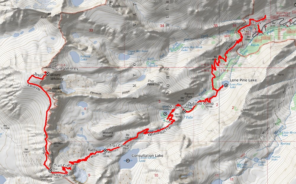 The Mount Whitney Trail. At Outpost Camp, I was just over 1/3 of the way to Mount Whitney.