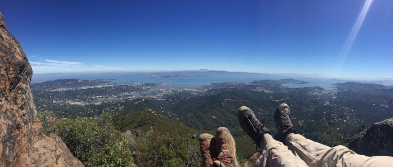 View of the San Francisco Bay the summit of Mount Tamalpais.