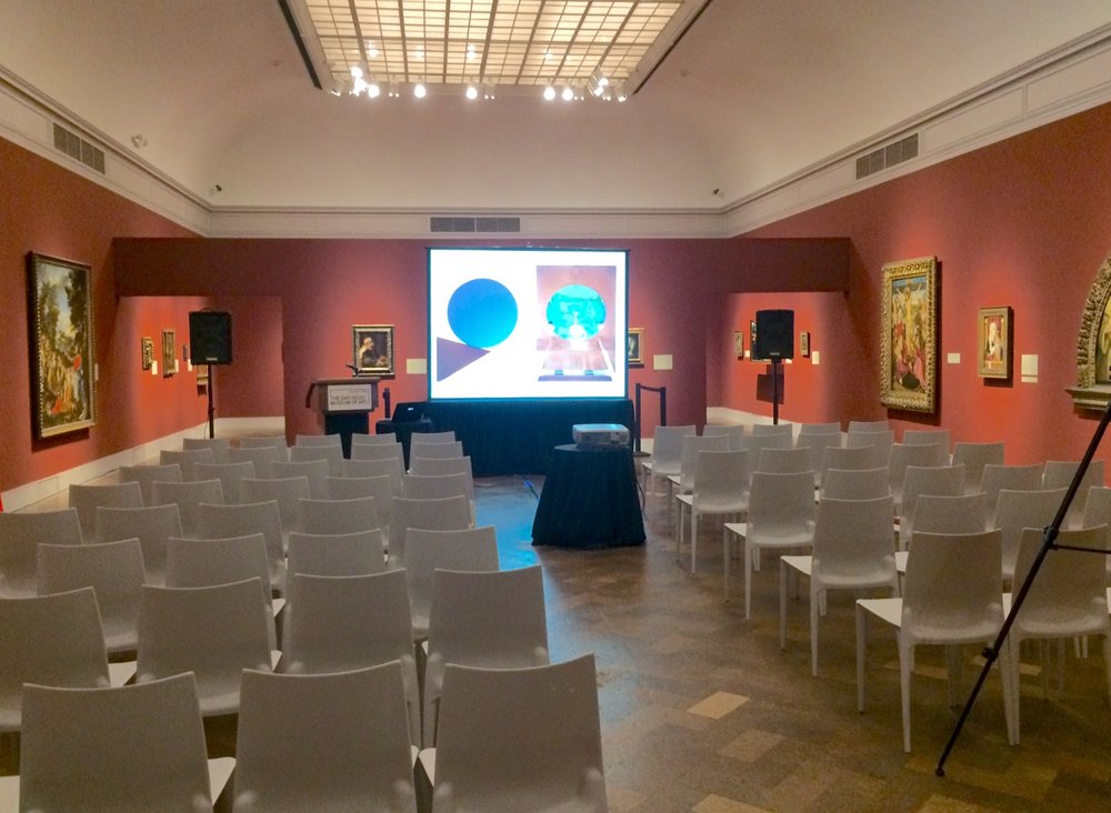 Getting set up for the artist talk, which took place on July 8.