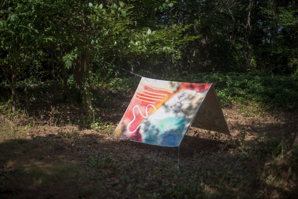 Painted canvas as ridgeline and tarp.