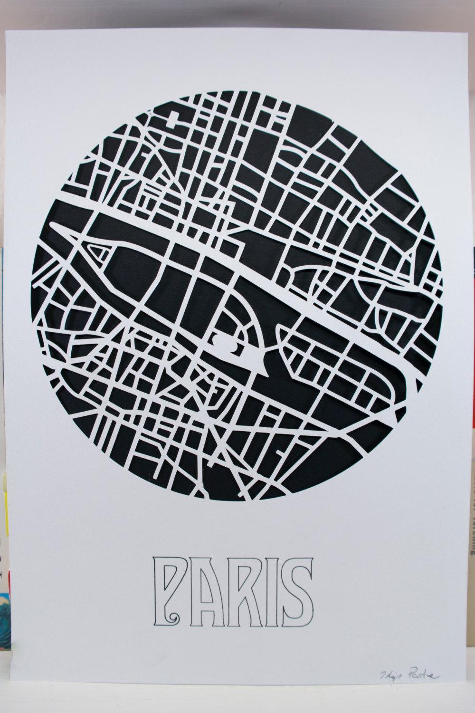 Paris Wall Art | Handmade Paper Cut Map | Wall Decor | A4