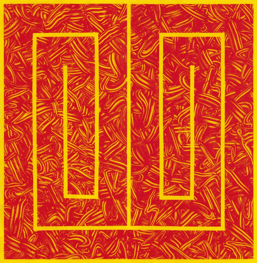 Richard Long,Fingers on Fire,2014, two panel carborundum relief, 248.5 x 238.5 cm, Edition of 7. Courtesy of the artist and Alan Cristea Gallery, London