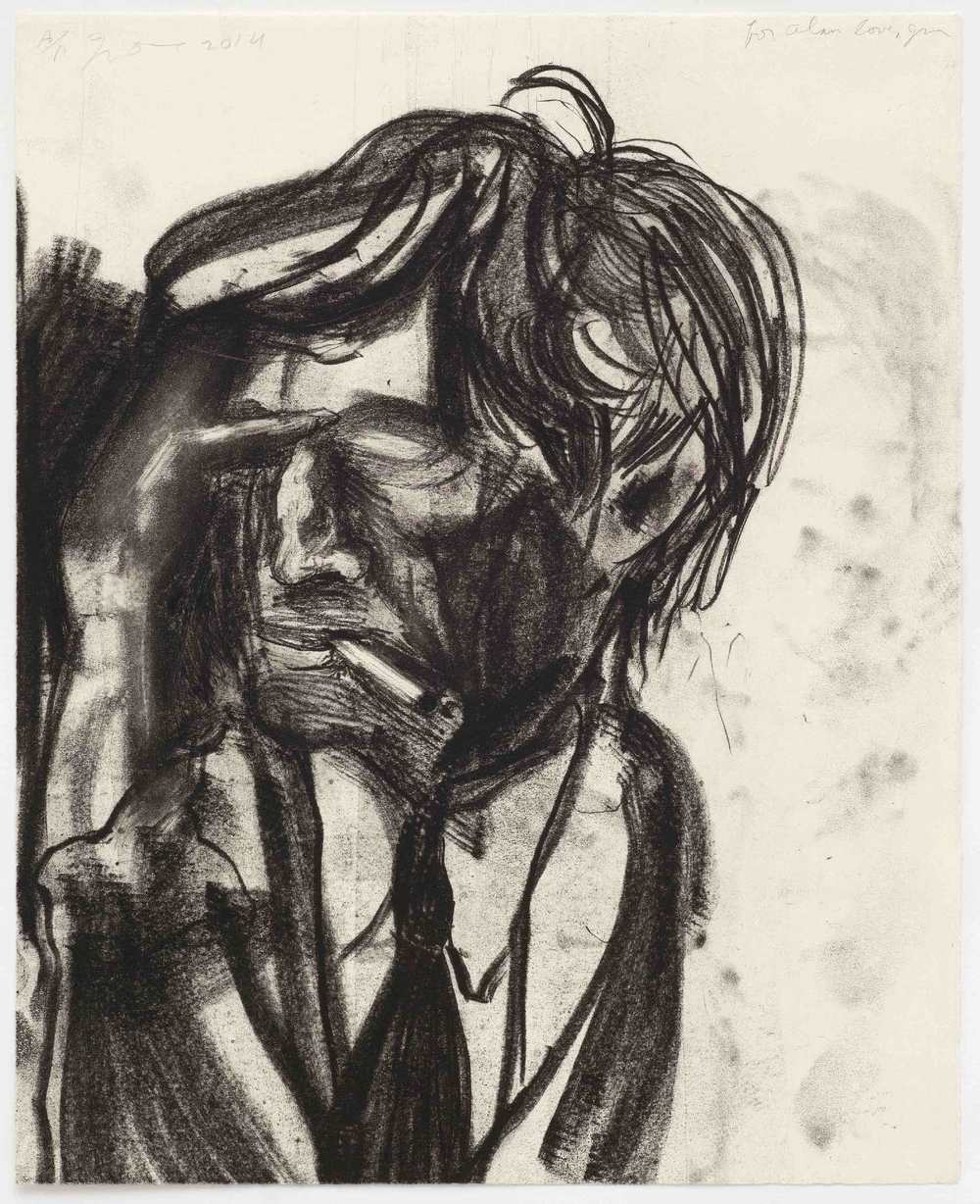 Jim Dine, Alan smoking at Sydney Close in the 90's, 2014, Copper plate etching on Hahnemuhle Copperplate warm white paper, Image courtesy Jim Dine and Alan Cristea Gallery, London