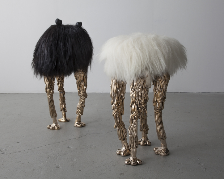 The Haas Brothers, Grace Tall stool and Dolph Tall stool from the Beast series (2013) Black Icelandic Sheepskin and three cast bronze long legs; White Icelandic Sheepskin and four cast bronze long legs 34h x 18wx 15d in; 27.5h x 18w x 18d in